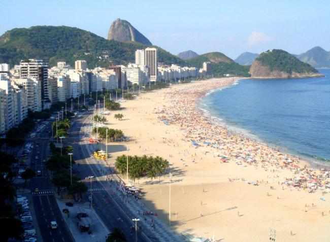 Знаменитый пляж Капокобана в Бразилии