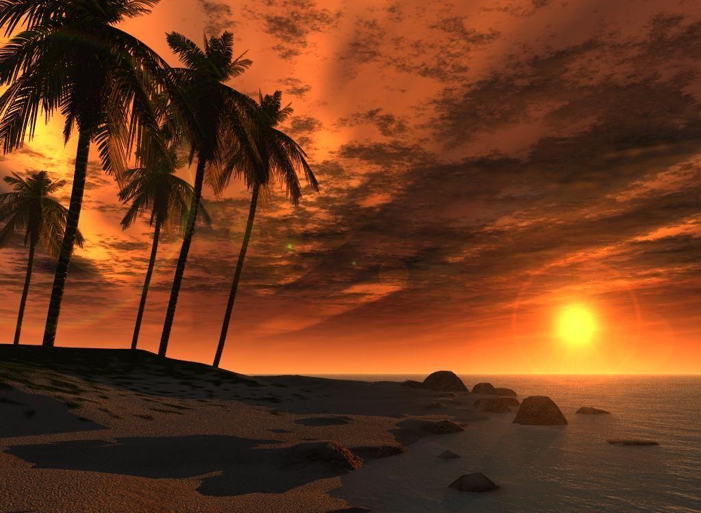 Закат над пляжем Ямайки
