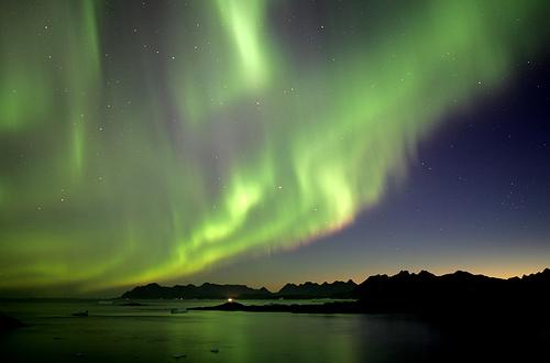 Северное сияние над Гренландией