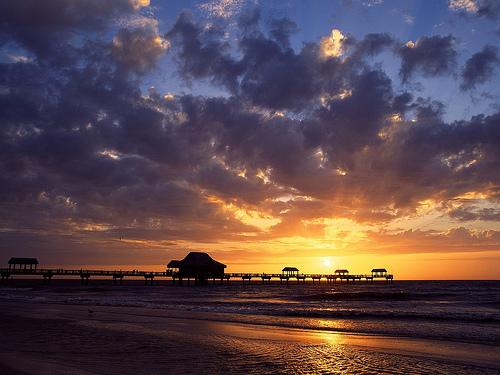 Закат над заливом в Мексике