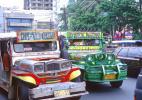 Город Манила на Филиппинах. Улица. Яркие джипы